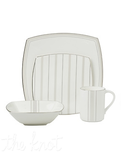 This sleek, square bone china pattern is enhanced with a stylish stripe design and platinum trim for a sophisticated yet contemporary look to your table. Hand wash only.