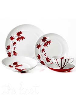 The striking Pure Red celebrates an exotic maple leaf in graphic silhouettes and brilliant fall colors. Some pieces are also enhanced by a unique crackle finish. This fine china collection expresses your individuality every bit as much as your menu. Hand Wash recommended. Microwave safe.