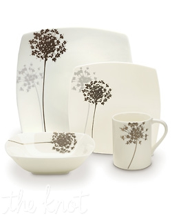 Fresh designs and a modern shape make Floral Silhouette the perfect combination for formal and casual entertaining alike. Bold florals are featured on a unique square shape of bone china, and are accompanied by a mica background on some pieces for a distinctly elegant tabletop. Makes for an updated, sophisticated statement on your table. Dishwasher Safe.