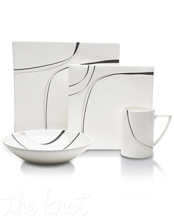 Sleek lines and a contemporary silhouette make Modernist the perfect pattern for sophisticated dining. The unique square bone china shape, combined with an updated design creates a stylist addition to your table. Perfect for formal or casual entertainment. Comes in a black or red design.