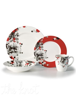 Shades of gray rain down on Floral Confetti dinnerware in a fresh, spot-on pattern from Mikasa. Bright red accents and a glossy finish make the already-bold graphic pop against modern shapes. In easy-care porcelain for effortless everyday style.