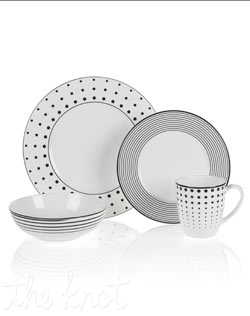 The fun and whimsical designs of Mikasa's Cheers bone china dinnerware create a festive mood at any gathering. The dots, lines, and swirls are distinctive and set an attractive table setting. Microwave and dishwasher safe.