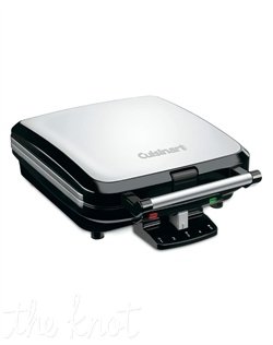 Cuisinart's® 4-Slice Belgian Waffle Maker, merges high performance with an elegant contemporary design. It makes 4 waffles at a time, utilizing the 5-setting shade controls and Ready-to-Bake/Ready-to-Eat indicator lights for ideal results every time.  The non-stick baking plates ensure quick cleanups after every use.