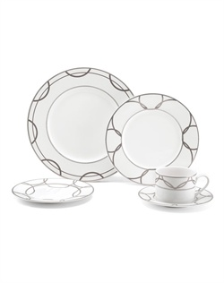 Mikasa® Wedding Ring Dinnerware offers a bold, contemporary addition to Mikasa's I Do collection. Linked platinum wedding bands form an infinite, unbreakable circle, demonstrating the true meaning of the ultimate symbol of eternal love. Made with a mix of matte and shiny platinum with raised white decal on porcelain.