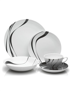 Mikasa&#174; Jazz porcelain dinnerware brings a sleek, contemporary look to your table. The black design against a white background and sophisticated coupe shapes lend flair to any meal or event. Microwave safe for reheating. Dishwasher safe.