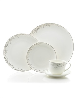 Mikasa® Shimmer Vine features delicate platinum and mica leaves that wind across a contemporary coupe silhouette. This bone china provides a chic and sophisticated look for your formal table. Graceful, yet modern for a unique formal dining statement. Hand wash. Not safe for microwave use.