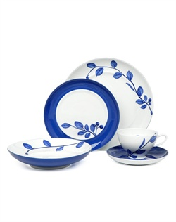 Who says dinnerware can&#39;t bring a warm, cheerful smile to your face? True Blue porcelain dinnerware by Mikasa&#174; features a rich blue hue painted in broad strips encircling the rims. Beautiful detailed branches with leaves and berries finely decorate coordinating pieces, making this collection appropriate for any gathering, whether fine or casual. Dishwasher and microwave safe.