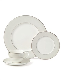 Mikasa® Gown Dinnerware is an essential addition to the I Do Collection, capturing the elegance of bridal couture. Traditional white is framed by a gentle texture reminiscent of the bridal veil. Pure white raised bead accents and a rich platinum border enhance the lovely design. This elegant dinnerware has soft ivory and champagne colors on porcelain with platinum banding.
