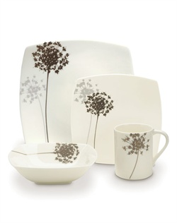 Fresh designs and a modern shape make Mikasa® Floral Silhouette the perfect combination for both formal and casual entertaining. Bold florals are featured on a unique square shape of high quality bone china, and are accompanied by a mica background. Dishwasher safe.