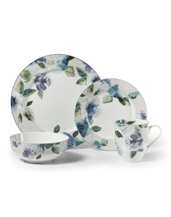 Mikasa Paradise Bloom porcelain dinnerware features bold watercolor florals that add a romantic element and vibrant splash of color to any table. The flowers incorporate a textured, ombre effect to offer a unique look and feel for both formal and casual entertaining.