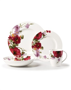 Inspired by nature's rainbow of life, this lovely dinnerware features a classic bright bouquet of flowers running around the rim of each piece. Microwave and dishwasher safe.