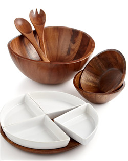 Bring the retro sophistication of natural wood to your dinner table. The Cellar's Acacia Wood collection of serveware and serving dishes features boldly carved shapes and subtle textures, adding a touch of the outdoors to every meal.