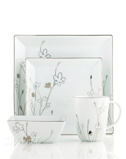 Wildflowers sparkle as they grow on the glazed white porcelain of Platinum Silhouette Square dinnerware. The dishes have a banded edge that adds a classic touch to a pattern with modern spirit. Pair round pieces with square plates from the simply timeless Fine Line collection, also from Charter Club.
