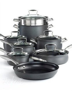 Stylish cookware that suits the needs of every cook and kitchen. Enjoy the phenomenal cooking results facilitated by hard-anodized aluminum exteriors that spread heat quickly and evenly, while nonstick surfaces make low and no-fat cooking an everyday possibility. Limited lifetime warranty.