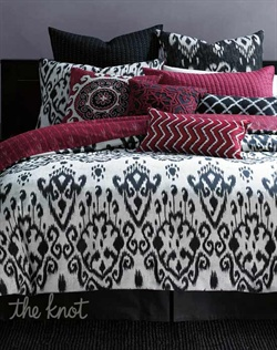 Captivating at a glance, the INC International Concepts Ikat Collection infuses your bedroom with exotic style. Rich red hues provide a graphic punch of color against a black and white landscape of abstract designs. Sophisticated embroidery, piped edges and quilted details complete the intriguing ensemble.