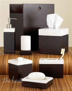 Clean and contemporary, the Standard Suite accessories create a spa-like environment in your bath. Chocolate-stained veneer is offset by pristine white ceramic creating a simple, yet sophisticated look.