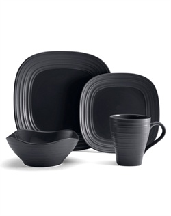 Swirl Graphite Square Dinnerware combines the distinct, organic finish of Swirl with a unique, soft square shape, and features clean lines rendered in a rustic, earthy pattern. The rich, double finish in graphite features a smooth and glossy inside with ribbed and matte finish on the outside. Microwave and dishwasher safe.