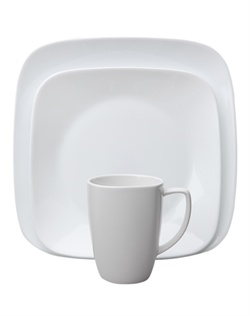 Round out your table setting with this Corelle® Square™ service for four. Shiny, flared rims add an element of interest to the plates. Vivid White is a versatile pattern, ideal for everyday use. It's easy to use, easy to clean and hard to break, thanks to durable Corelle® ware.  Break and chip resistant. Microwave, oven & dishwasher safe.