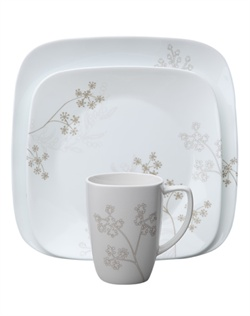 "Shadow Dance is a breezy Corelle® pattern, with khaki-colored stalks of wild grass. Soft gray ""shadows"" give the design a sense of depth and dimension. And Shadow Dance is a breeze to use. It's easy to clean and hard to break, thanks to durable Corelle® ware.  Break and chip resistant. Microwave, oven & dishwasher safe."