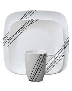 On this Corelle® dinnerware set, diagonal black lines - that appear to be hand drawn - adorn opposite corners. Simple Sketch brings artistry to your table… and convenience to your life. It's easy to use, easy to clean and hard to break, thanks to durable Corelle® ware.  Break and chip resistant. Microwave, oven & dishwasher safe.