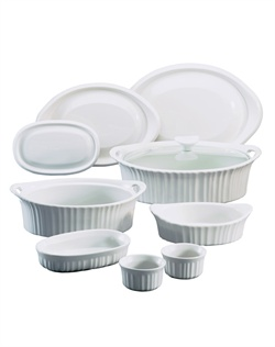 Like cherished recipes this fluted white motif has been a part of family dinners for generations. French White® is the quintessential CorningWare® bakeware pattern designed for today's lifestyles. The 10 piece set is microwave, oven & dishwasher safe.