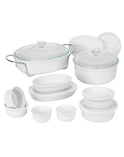 Like cherished recipes this fluted white motif has been a part of family dinners for generations. French White® is the quintessential CorningWare® bakeware pattern designed for today's lifestyles. The 17 piece set is microwave, oven & dishwasher safe. *Pieces may vary by retailer.*
