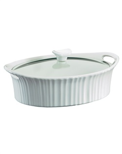 Like cherished recipes this fluted white motif has been a part of family dinners for generations. French White® is the quintessential CorningWare® bakeware pattern designed for today's lifestyles. The 2.5 quart casserole moves from oven to table with ease & elegance. Microwave, oven & dishwasher safe.