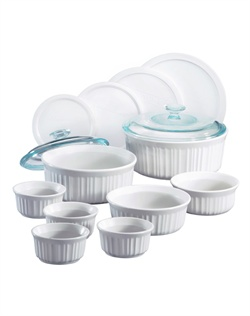 Like cherished recipes this fluted white motif has been a part of family dinners for generations. French White® is the quintessential CorningWare® bakeware pattern designed for today's lifestyles. The 14 piece set is microwave, oven & dishwasher safe. *Pieces may vary by retailer.*