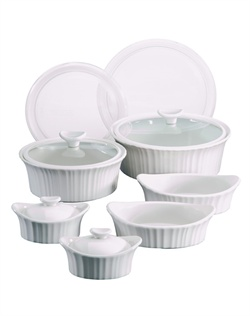 Like cherished recipes this fluted white motif has been a part of family dinners for generations. French White® is the quintessential CorningWare® bakeware pattern designed for today's lifestyles. The 12 piece set is microwave, oven & dishwasher safe.