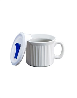 Like cherished recipes this fluted white motif has been a part of family dinners for generations. French White® is the quintessential CorningWare® bakeware pattern designed for today's lifestyles. The Pop-Ins® mug is microwave, oven & dishwasher safe.