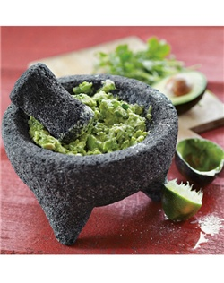 The mortar and pestle carved from volcanic rock is among the world's oldest kitchen tools. Our molcajete (mortar) and tejolete(pestle) are hand carved from a single piece of basalt rock, making each piece unique.