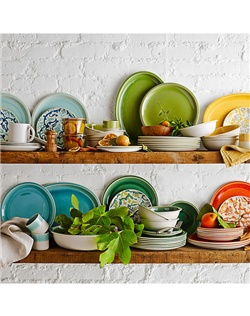 "The artistry of master ceramists is evident in every detail of this French stoneware collection—a fresh, modern interpretation of classic 1950s silhouettes. Renowned for coaxing rustic warmth from every piece they make, artisans shape and glaze the dinnerware entirely by hand, using an intricate 17-step process to create the unique ""crackled"" appearance and unparalleled richness of color. Extremely durable and chip-resistant, these distinctive mugs, plates and bowls are crafted in the south of France at the award-winning Jars pottery, founded in 1857."