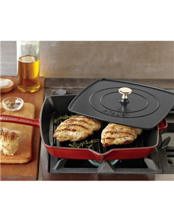 Whether you're preparing Italian-style panini or a grilled chicken breast, stovetop grilling is twice as efficient with this ridged cast-iron pan and flat press. The square enameled cast-iron pan sears and browns foods beautifully, while the heavyweight press helps ensure fast, even cooking. Simply heat the press in the oven or in the pan, then place it atop the food in the pan to cook both sides at once.