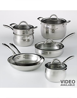 Whether you're simmering sauces, sauteing veggies or braising meat, this stainless steel cookware set will help you do it all with ease.
