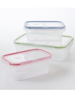 Storage is a cinch with this Food Network container set. 100% airtight and leak-proof plastic. Microwave-, freezer-, and dishwasher-safe.