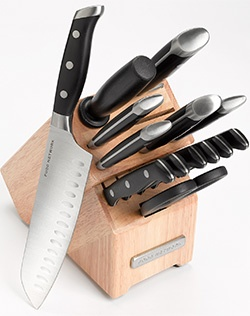 Look sharp when you use this Food Network cutlery set. Well-balanced professional and contemporary design. Precision-etched blades for longer-lasting sharpness.