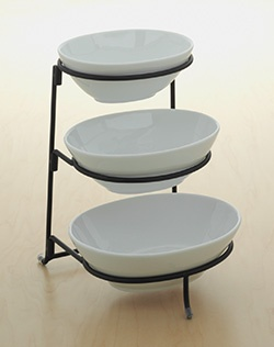 This Food Network three-tier serving bowl server is a must-have for fashionable entertaining. Also makes a great wedding or shower gift. Durable and sturdy porcelain with wrought-iron stand. Bowls are microwave- and dishwasher-safe.