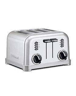 Cuisinart's Metal Classic Toaster has a smooth brushed stainless housing with polished chrome and black accents. Its custom controls let you defrost and toast bagels and bread, four at a time -- just the way you want them. Dual control panels make this two toasters in one.