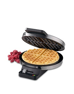 Bake delicious waffles fast with this gleaming stainless steel Cuisinart® Classic Waffle Maker. Bakes one large traditional-style waffle.  It has a five-setting browning control and regulating thermostat.  Red and green indicator lights lets you know when your waffles are ready to bake and ready to eat.  Nonstick baking plates and brushed stainless steel housing.