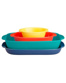 CW by CorningWare® is a new bakeware collection from CorningWare.  The vibrant, mix and match design will allow you to reflect your personal style for any occasion. This sets nests together for compact, easy storage.  