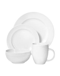 """Who says you have to pay through the nose to get great dinnerware? Smooth porcelain fiinish in silky white. Microwave Safe for re-heating and Dishwasher-safe. Number of Pieces: 16 Includes: 4 Cereal Bowls, 4 Mugs, 4 Salad Plates Service for: 4 Material: Porcelain Finish: Smooth Care and Cleaning: Microwave Safe for Reheating Only, Dishwasher-safe, Hand Wash, Microwave Safe Dinner Plate Diameter: 10.8 """" Dinner Plate Width: 10.78 """" Dinner Plate Length: 10.78 """" Salad Plate Diameter: 8.0 """" Salad Plate Width: 7.95 """" Salad Plate Length: 7.95 """" Cup Capacity: 14 oz. Warranty Description: 1 Year Limited Manufacturer Warranty Dinner plate: 4 piece(s) ; x 11.0 """" W ; x 11.0 """" L Salad plate: 4 piece(s) ; x 8.0 """" W ; x 8.0 """" L Bowl Mug"""