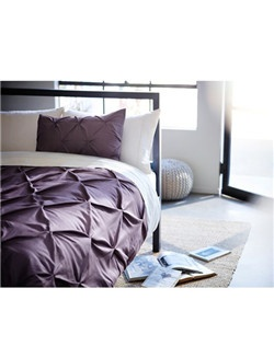 Modern and luxurious, Threshold's Pinched Pleat Comforter Set makes an elegant addition to any bedroom. Sporting unique, pinched-pleat quilting in solid colors and subtle geometric patterns, this 100%-cotton comforter set is as comfortable as it is stylish. Each bedding set includes a high-quality, soft comforter and 2 pillow shams. Available in blue,  gray,  lavender and white. Full/Queen or King sizes. Machine washable.  Thread Count: 215 Bed Topper Features: Jump and Tack Quilting Fiber Content: 100 % Cotton Fill Material: 100 % Polyester Weave Type: Woven Closure Type: Knife Edge Care and Cleaning: Machine wash, warm; Tumble dry, normal, low heat