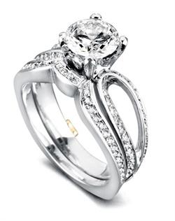 Shown with a 1ct center diamond. Forty-eight diamonds totaling 0.17ct. Available in yellow, white, or rose gold, and platinum. Rings can be custom made to fit any size or shape diamond or color center stone. Center stone sold separately. Shown with matching wedding band. Wedding band contains 31 diamonds totaling 0.1175ct. Wedding band sold separately.