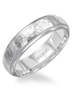 Men's wedding band with hammered inlay and milgrain detail. Available in Platinum, 18K White or Yellow Gold, 14K White or Yellow Gold or Palladium. Woodbridge