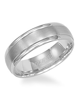 6mm wide Men's Palladium brushed round edge Comfort Fit wedding band with polished edges and a satin finish inlay. Available in Platinum, 18K White or Yellow Gold, 14K White or Yellow Gold or Palladium. Corinthian