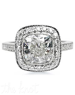 Platinum engagement ring with 2.5-CT cushion bezel set diamond with total .05-CT round side diamonds. Custom designed to fit any center diamond.
