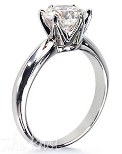 14K white gold engagement ring with total 1-CT round diamond solitaire. Diamond not included.