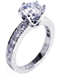 18K white gold Custom Crowne with Side-stones engagement ring with a 1ct round brilliant cut center diamond and 0.25ct total weight of FG-SI1 Ideal Cut round diamonds in the shank.  Center stone not included.