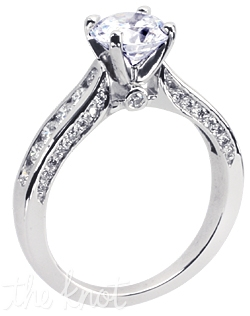 18K white gold St. Tropez Fluted engagement ring with a 1ct round brilliant cut center diamond and 0.50ct total weight of FG-SI1 Ideal Cut round diamonds in the shank.  Center stone not included.