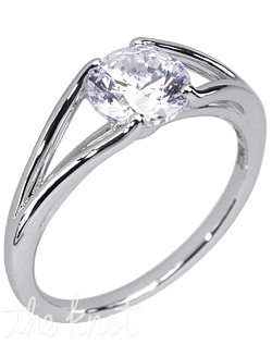 18K white gold Stardust Active engagement ring with a 1ct round brilliant cut center diamond.  Center stone not included.